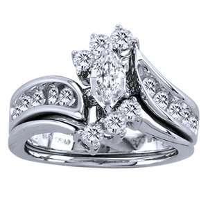 1.25 Carat Marquise Round Diamond 14k White Gold 2 Piece