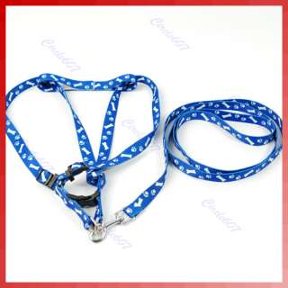 Bone Paws Print Small Dog Pet Leash Lead Harness Blue