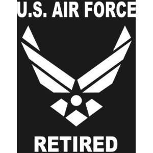 com U.S. AIR FORCE RETIRED Wings logo white window or bumper sticker