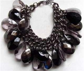 Large Silver Tone Rose & Bluey Grey Pearls Bracelet