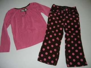 Mini Boden GIRLS Pink Top Heart Dot Pants 5 6 4 JE