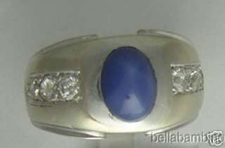 14K WHITE GOLD DIAMOND & LINDY STAR SAPPHIRE MENS RING