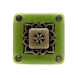 Acosta Jewellery   Green Enamel & Crystal Square   Adjustable Fashion