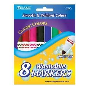 Bazic Broad Line Jumbo Washable Markers, Assorted Colors