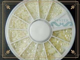 S47A Wheel Nail Art Pearl Rhinestone 4 Sizes