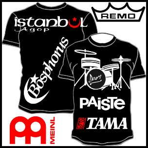 Drums Cymbal T Shirt Polo Tama Bosphorus Istanbul Agop Meinl Paiste