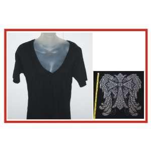 Rhinestone iron on Transfer T shirt Wings Cross Design