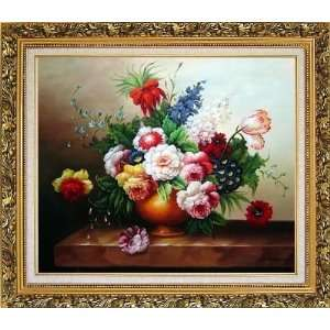 Oil Painting, with Ornate Antique Dark Gold Wood Frame 26 x 30 inches