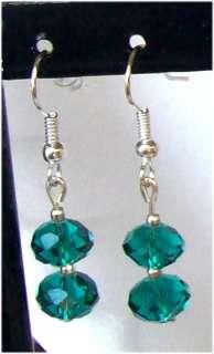 New 1 pair Of Green Swarovski Crystal Earrings No.85