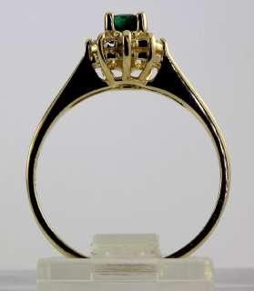 SWANKY .65CT OVAL EMERALD DIAMOND HALO STAR RING 14K YELLOW GOLD