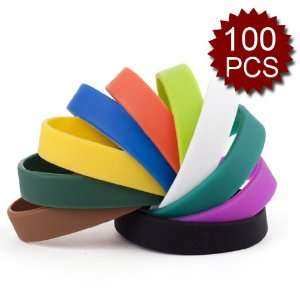 /100 Pcs)(Wholesale Lot) Assorted Colors Kids Silicone Wristbands
