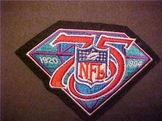 Mint unused NFL 75TH ANNIVERSARY PATCH 5 inch 1920 94