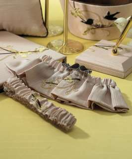 2pc Taupe Love Birds Wedding Bridal Garters
