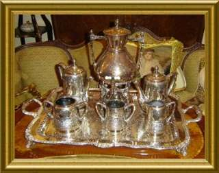 ANTIQUE  VICTORIAN Meriden Britannia SILVER 8 Pcs. TEA,COFFEE SET