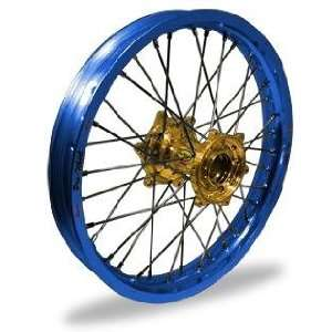 Pro Wheel Supermoto Rear Wheel Set   17x5.00   Blue Rim/Gold Hub 27