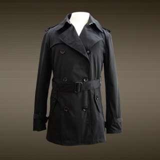 NWT Mens Fashion Trench Coat Jacket Summer Style Black