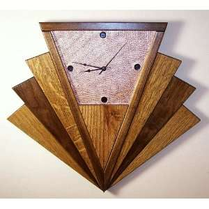 tiger oak walnut copper art deco machine age fan wall