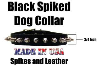 Wide Spiked Leather Dog Collar Studded Puppy Pet