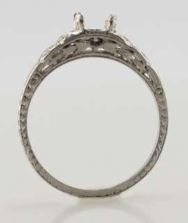 Vintage Tiffany Co Platinum Diamond Semi Mount Engagement Ring Size 5