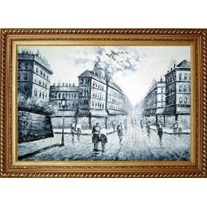 People Walking on Paris Street Scene Oil Painting, with