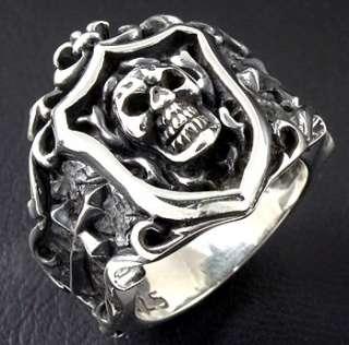 descriptions gothic royal knight skull cross sterling silver ring