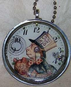 Alice Wonderland Pocket Watch Hatter Steampunk Pendant Necklace Artist