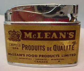 VTG Hadson Advertising Lighter McLEANS FOOD PRODUCTS
