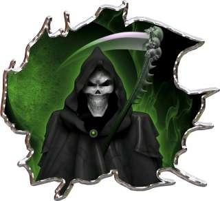 Vinyl graphic decal Grim Reaper Green race car go kart