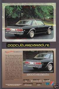 1978 CHEVROLET MALIBU CLASSIC LANDAU CAR Chevy Card