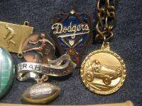 Vintage Junk Drawer Lot Sports Related Pin Pen Medal Dodgers Orioles