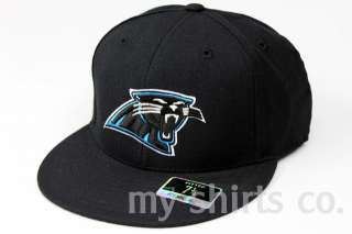Carolina Panthers NFL Reebok Black Blue Fitted Caps NEW