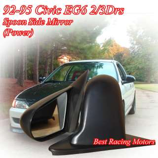 92 95 Civic 2/3dr Spoon Side Mirrors ABS Black (Power)
