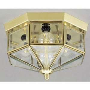 Ceiling Fixture Polished Brass Finish with Clear Beveled Glass Panels