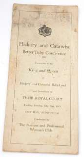 Hickory & Catawba NC Better Baby Conference 1942 King & Queen Prizes