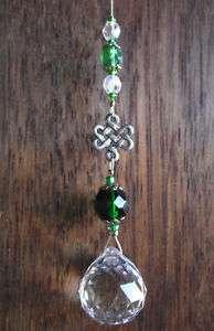 Celtic Knot Crystal Ball Pewter Irish Luck Suncatcher