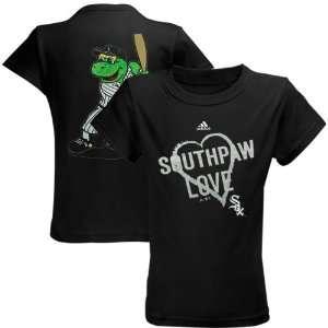 Youth Girls Southpaw Mascot Love T Shirt   Black