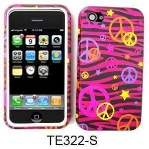 Hybrid Phone Case Protector Peace Signs on Pink & Black Zebra Print