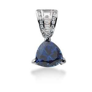 Diamond Sapphire Pendant Triangle Channel Fashion Chain 14k White Gold