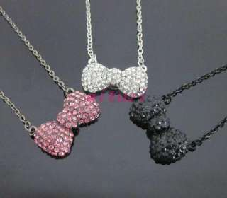 Hello kitty pink &silver& black bow crystal necklace 3item mixed color