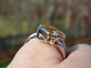 VINTAGE 10K WHITE GOLD ART DECO CREATED CITRINE COCKTAIL RING @SZ 7