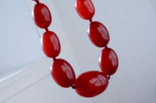 Vintage Art Deco Red Cherry Amber Bakelite V. Long Graduating Bead