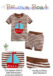 Toddler Kid Girl Boys Short Sleeve Sleepwear Set Brown Boat
