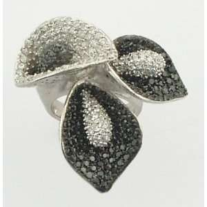 Gorgeous Sterling Silver 925 Clear & Black CZ Flower Ring, 6 Jewelry