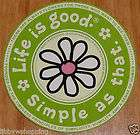 Life is Good Sticker 4 Round Daisy Simple as That Lime Green/Pale