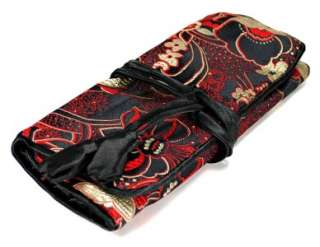 SILK JEWELRY TRAVEL BAG Roll Case Pouch Carrying Black Fabric Brocade