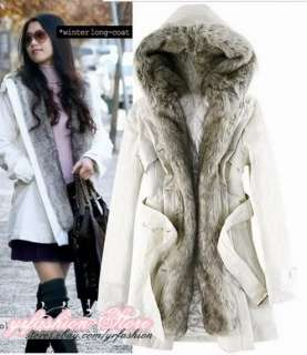 yrfashion Korea Fashion Women Classy Fur Hooded Double Breasted Woolen