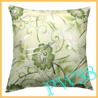 Pillow Sofa Cushion Cover Silver Floral Print Square 17 PW