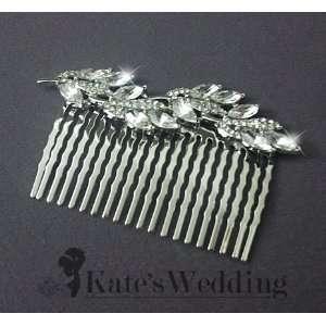com Bridal Wedding Side Comb Leaf Vine Rhinestone Crystal Bridal Hair