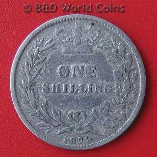 GREAT BRITAIN ENGLAND 1879 1 SHILLING SILVER NO DIE # QUEEN VICTORIA