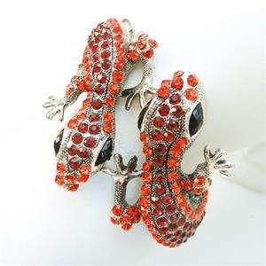 VTG Style Bracelet Bangle Cuff Red Swarovski Crystal Animal Dual Gecko